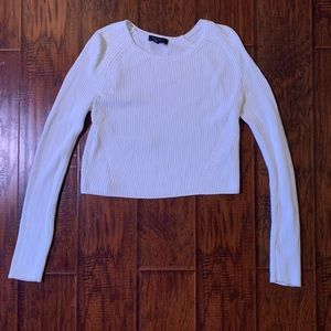 WHBM cropped cream sweater